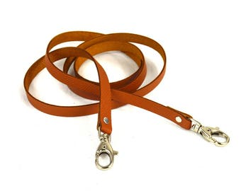 Shoulder strap fine camel brown leather with lobster clasps