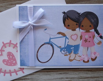 VALENTINES DAY Card - Greeting Card, Handmade,Bike, Boy and Girl, Congratulations, Engagements, LoveEngagement Card, Engaged,  Love