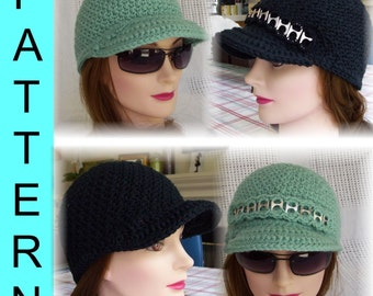 Instant Download: Crochet Pattern - Adult or Toddler Textured Cap with Brim and Pull-Tab Band
