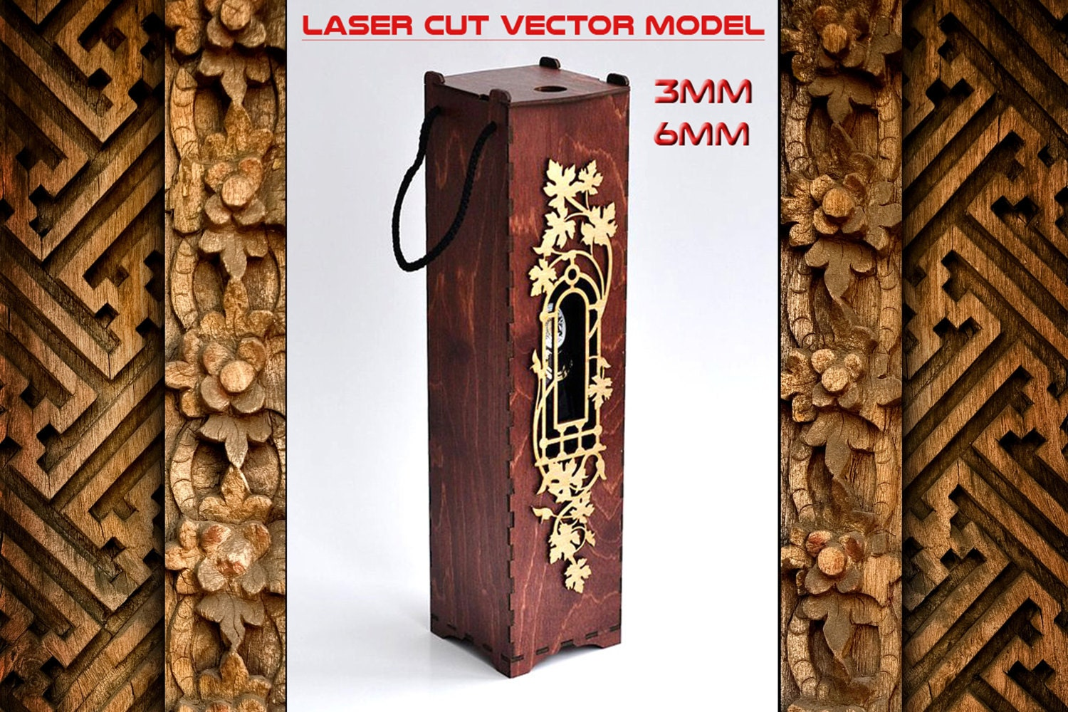 Wine Box Plans For Laser Cnc Cutting Wooden Box Plywood