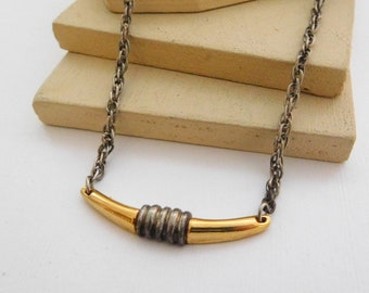 Retro Vintage Boho Industrial Silver Gold Mixed Metal Choker Chain Necklace B50