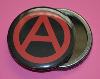 Anarchy makeup mirror - 58mm makeup mirror - hand mirror - punk makeup mirror - punk makeup tools - punk pocket mirror - anarchy - mirror