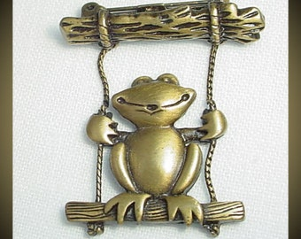 Frog on Swing Vintage Signed Brooch Pin