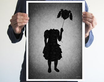 I love balloons,digital print,artwork,art,wall decor,home decor,silhouette,black and white,gothic art,goth,victorian,horror,poster,print,