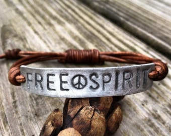 Silver FREE SPIRIT ID Leather Bracelet Hand Stamped, Peace sign bracelet, affirmation, Pewter
