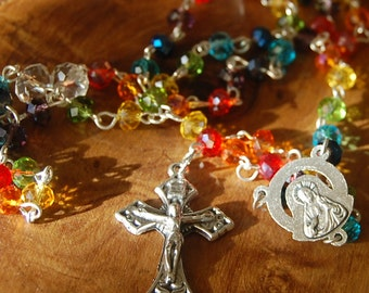 Mother of Dolorosa Catholic Rosary.  Handmade. Crystal Rosary. Rainbow Rosary. Catholic Jewellery.