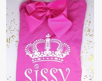Sissy Shirt Bow Set Shirt and Bow Set Girls Youth Shirts