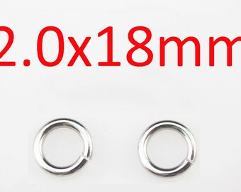 Wholesale - 2x18mm 316L stainless steel jump rings 200pcs/lot