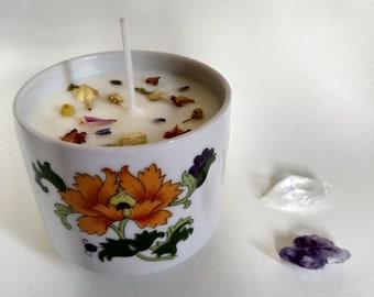 Orange Flower Teacup Candle
