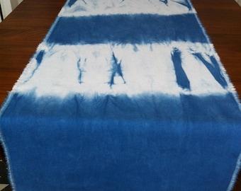Shibori table runner indigo dyed lightweight cotton canvas with fringed edge