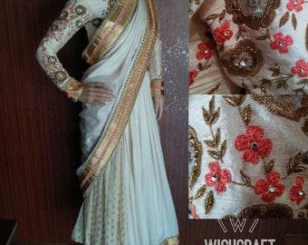 Royal lehenga saree with exotic handwork