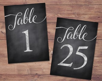 Wedding table numbers 1-25 - printable table numbers - rustic table numbers - PRINTABLE - 5x7