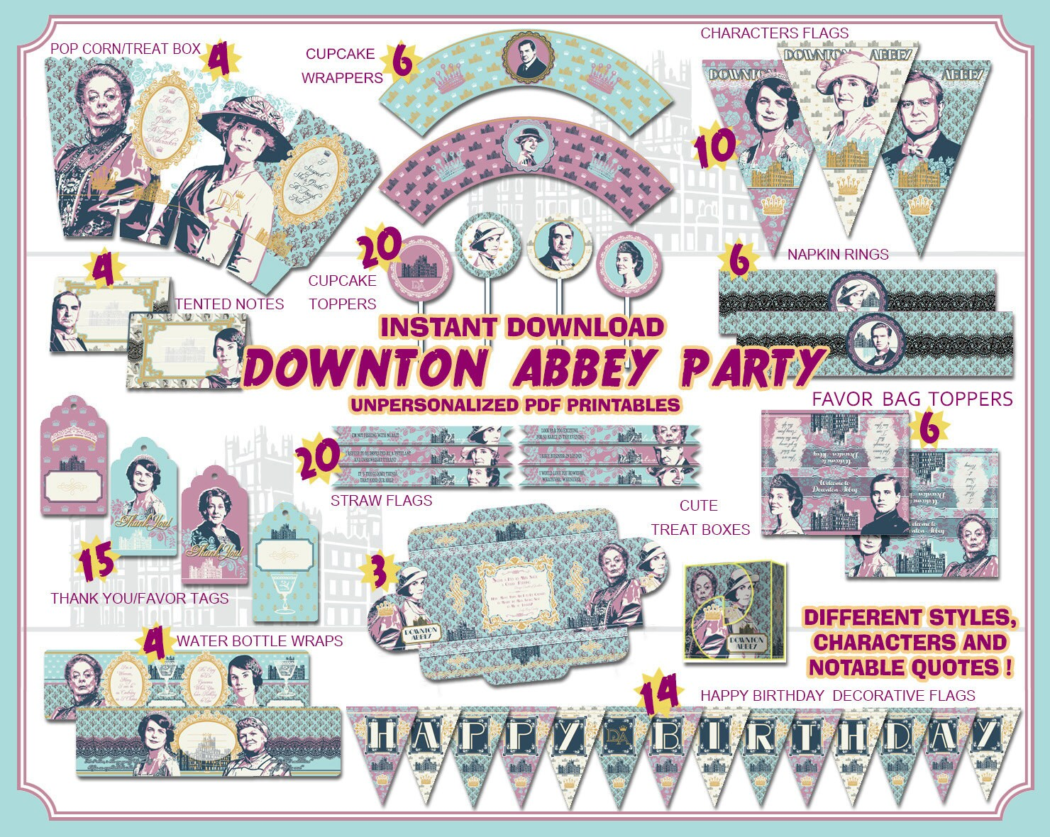 Downton abbey party printables victorian tea party downton zoom monicamarmolfo Image collections