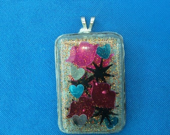 Lips, Abstract, Hearts, Glitter, Resin Pendant, Necklace, Jewelry