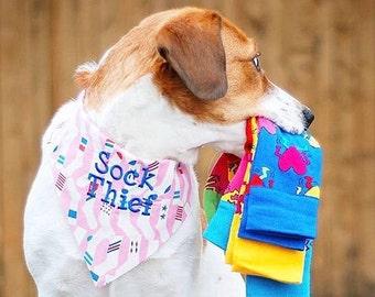 dog bandana, puppy gift, Pink Sock Thief Dog Bandana,  Reversible Pet Scarf by Three Spoiled Dogs