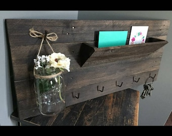 Rustic Mail Holder With Key Hooks