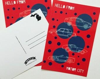 Motor City Detroit Michigan Postcard - Set of 3 Souvenirs