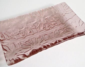 Fused Glass Flower Imprint Dish in Blush Pink by BPRDesigns