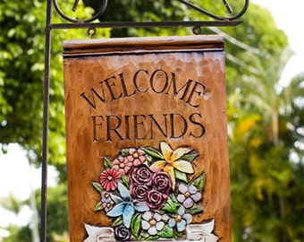 Welcome Friends Personalized Yard Sign with Stake