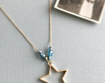 gold star necklace celestial necklace star pendant blue beaded necklace minimalist jewelry everyday jewelry gift for her TWINKLE
