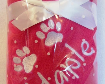 Personalised Puppy Blanket.  New puppy or Dog blanket. Embroidered Paw Prints and Your Dogs Name - Lots of Blanket Colours Available