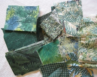 Stash-Buster Green Cotton Quilting Fabric Scraps #2