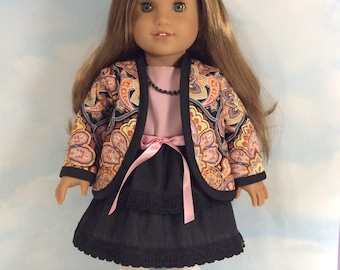 Dress and jacket 2 piece fits American girl dolls and dolls similar to size