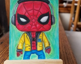 Homecoming Hand Drawn ACEO Artist Trading Card 2.5x3.5 inch