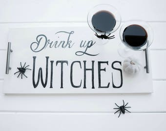 Hand Painted Serving Tray - Drink Up Witches
