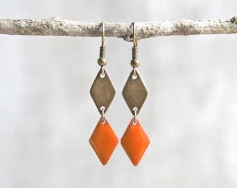 Geometric earrings, diamond, enamel earrings. Orange earrings. Graphic earrings. Geometric earrings