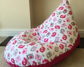 Large adult grey pink bird robin beanbag bean bag gaming reading chair