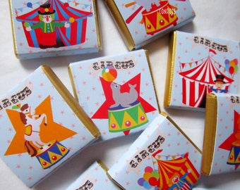 Personalised Chocolates Cute Circus party favour birthday candy bar 25 pcs