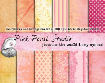 Raspberry and Orange Sorbet Digital Paper Pack 12x12...Scrapbooking, Crafts and Cardmaking