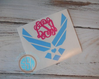 Air Force Wife Girlfriend Mom Initials Monogram Car Decal Vinyl Decal Monogram Car sticker Car Initials Vinyl Initials Vinyl Lettering