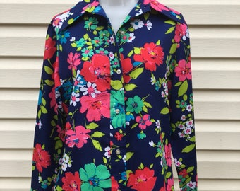 Vintage Sears Roebuck Womens Blue Floral LS Button Front Shirt