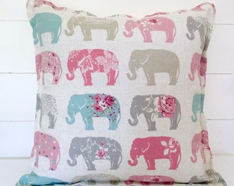 """Cushion Cover, Elephants Cushion Cover 16"""" 18"""" 20"""", Pillow Cover, Pillow Case, Nursery, Kids Room, Scatter Cushion, Scatter Pillow, Elephant"""