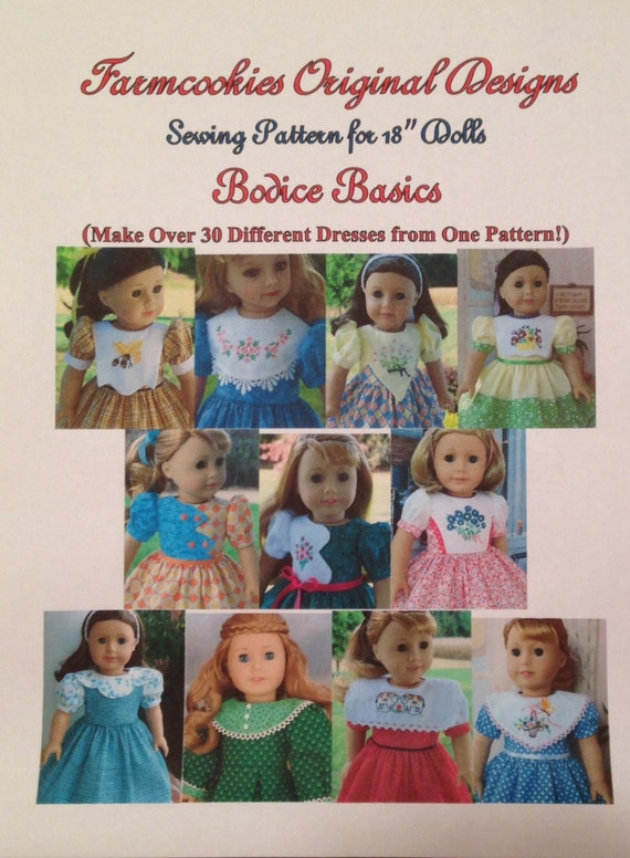 """Xl PRINTED SEWING PATTERN / Bodice Basics for American Girl or other 18"""" Dolls / Make 30  Dress from 1 Pattern!"""