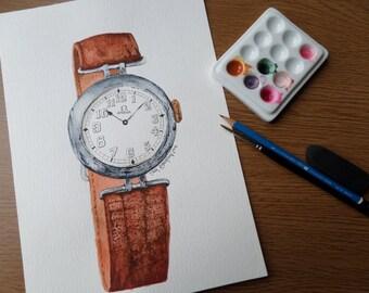 Original Watercolour Art 'Vintage Omega' watch/horology art 11 x 8 inch