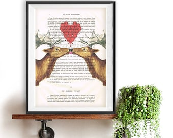 Moose in Love, art print on real french vintage paper from around 1900, christmas and valentines gift