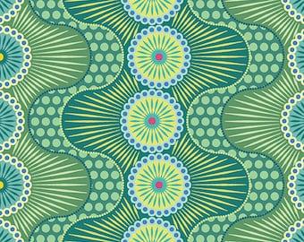 Green Wavy Stripes Dot Crazy Benartex Fabric