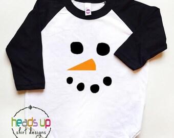 Snowman Shirt Toddler Boy/Girl - Raglan Christmas Tee Kids - Snowman Baby Bodysuit Boy/Girl - Trendy Snowman tshirt - Snowman Face Hipster -