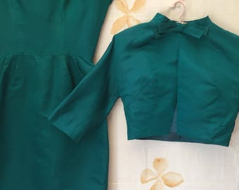 Emerald green vintage silk dress and jacket. 1950s suit