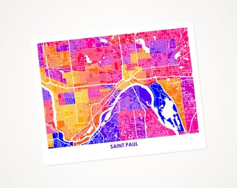 Saint Paul Map Print.  Choose the Colors and Size.  Twin Cities Minnesota Art.  Perfect Housewarming Gift.