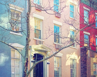 New York photography, NYC print, New York architecture, streetscape, Lower Manhattan, fine art photography, wall art, painted row homes