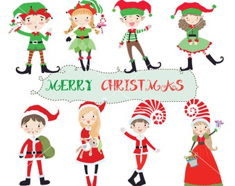 Cute christmas Clipart / Santa Clipart/ cute elf Instant Download PNG file - 300 dpi
