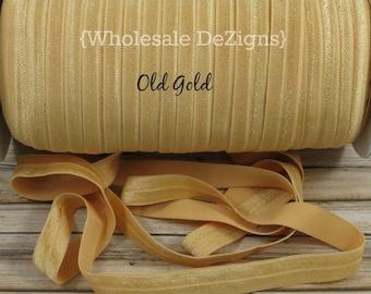 "Old Gold FOE - Fold Over Elastic - 5/8"" - Foe DIY Headbands Hair Ties - Shiny Satin Elastic - Wholesale"