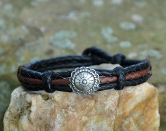 Handmade One-Of-A-Kind South Western Style Cowboy or Cowgirl Braided Kangaroo Bracelet with Sterling Silver Concho