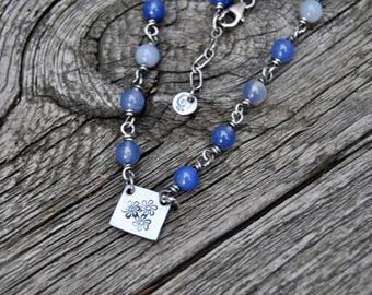 Blue Agate Necklace, Flower Necklace