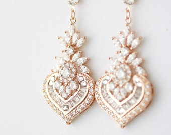 Wedding Earrings Chandelier Bridal Earrings Rose Gold Wedding Jewelry Crystal Bridal Jewelry  Pink Gold Earrings EVIE Drop Earrings