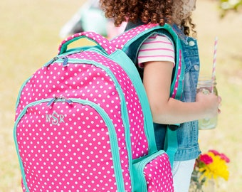 Personalized Girls Backpack - Monogrammed Backpack - Dottie Book Bag ~ Monogrammed Girls Polka Dot Book Bag ~FREE Personalization~Quick Ship